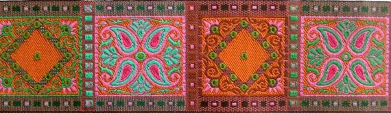 "Da Vinci Woven Jacquard 1 7/8"" x 7/8 of a yd in Pink, Turquoise, Olive and Rust Da vinci10 - 1 available"