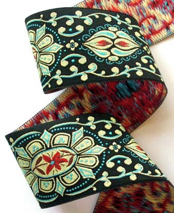 """Woven Jacquard Ribbon - Collection22b 1 7/8"""" x 1 yard Black, Turquoise and Red"""