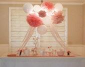 10 Tissue Pom Poms : wedding favors - nursery decor - bridal shower - party decor - pick your colors