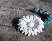 Turquoise Daisy: Vintage Enamel Daisy with Turquoise Beads Necklace