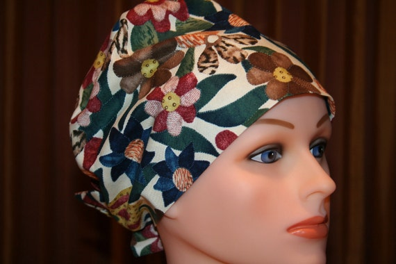 SALE--Tie Back Surgical Scrub Hat/Chemo Hat--Warm Floral Mix