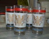 set of 4, pink glasses, federal/eagle/red white and blue drinking glasses