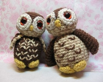 Mama and Baby Owl Crochet Dolls OOAK Amigurumi Woodland Nursery