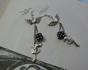 Supernatural Angel Dice Colt Earrings