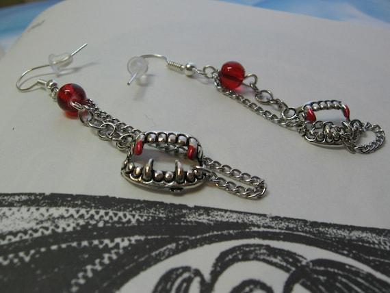 Vampire in Chains Bite Me Earrings