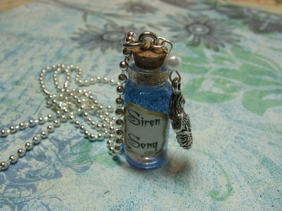 Siren Song Mermaid Bottle Necklace