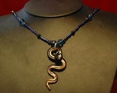 Blue Charmer, Glass Snake Necklace with Blue Delcas & Onyx