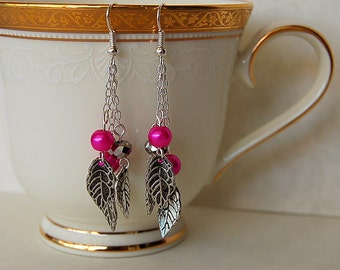 Dangly silver and pink pearl glass earrings