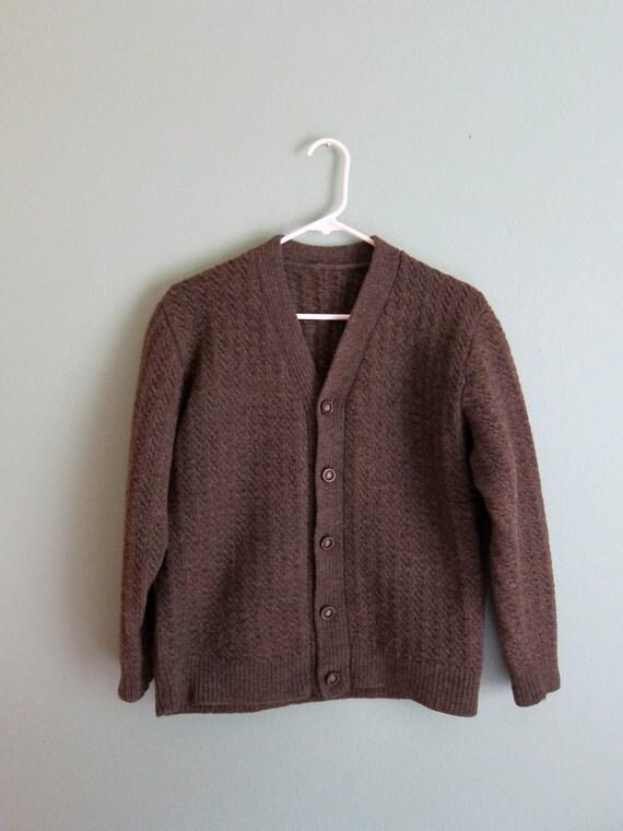 1960s tobacco heavy knit cardigan small