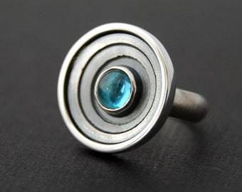 Galaxy Ring - Sterling silver ring with swiss blue topaz ON SALE
