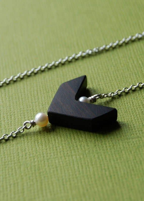 RESERVED - Chevron Necklace - sterling silver, freshwater pearls and ebony