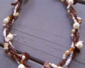 Autumn Garden .. Brown Ivory Mauve Beaded Necklace .. Twisted Untwistable Necklace .. Beaded and Chain Twist Necklace