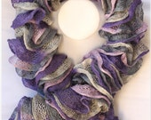 Handmade Knit Ruffle Scarf Multicolor