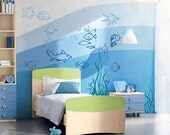 Under the sea Fish Wall Decals Underwater Ocean Decal Nursery Baby Boys Girls Kids Room Decor Wall Art Large Stickers Murals Removable Vinyl
