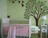 Tree Wall Decal Nursery Baby Girls Boys Room Large Tree Birds Sticker Wall Mural Bedroom Living Room Removable Vinyl Seasonal Nature Decal