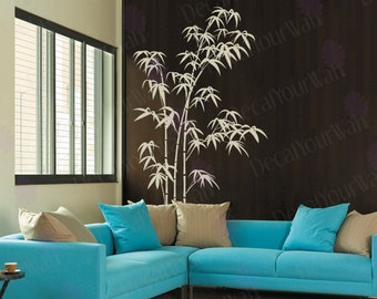 "80"" tall Large Bamboo Tree Removable Vinyl Wall Decals Sticker Wall Art Home Decor With a Crane Bird Decal"
