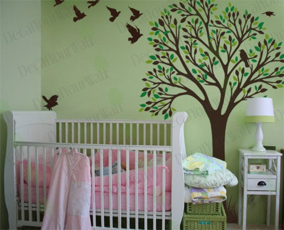 Tree Wall Decal Nursery Baby Girls Boys Room Large Tree Birds