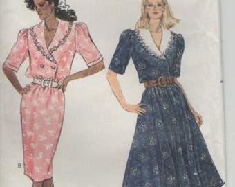 """ON SALE - 1980s Butterick Sewing Pattern No 6102  for Womens Dress Size 14 16 18   Bust 36"""" to 40"""""""