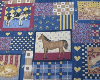 On Sale - Sewing Fabric from the 1990's of blocks of Dogs, Cats, Horses, Birds, Rabbits, Turtles.