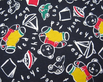 On Sale - Vintage Sewing Fabric lots of Bears and Toys