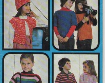 ON SALE - Patons Totem Children's Knitting Pattern No 505 for Jumpers, Tabard, Jacket, Overstyle, Shirt and Hat - Vintage 1970's