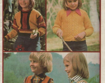 ON SALE - OutDoor Kids in Totem Childrens Knitting Pattern No 403 for Jumpers Vests and Cardigan - Vintage 1970's