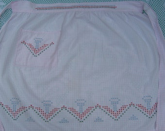 On Sale - 1950s Vintage Pale Pink Half Apron with Cross Stitch Pattern