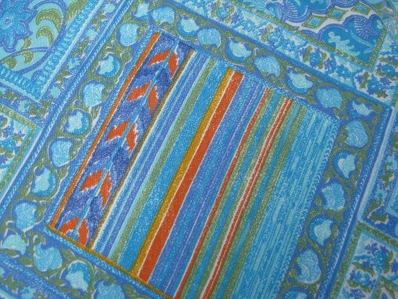 On sale vintage sewing fabric from the 70s 80s blue for Sewing fabric for sale