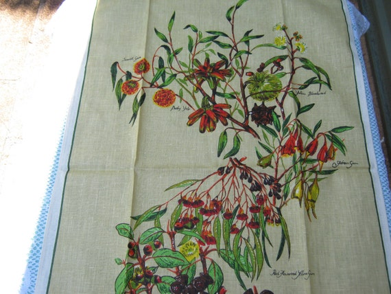 Tea Towel Vintage Souvenir Australian Eucalypt Flowers  Australia. Very 1970s