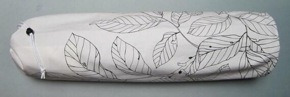 SALE: Yoga Mat Bag - White Black Leaf with Adjustable Strap - Yoga Bag
