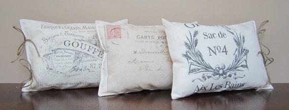 French Country - MINI Decorative Pillows - Set of 3 - Vintage Paris - Paris Shop Graphics - French Postcard - Grain Sac