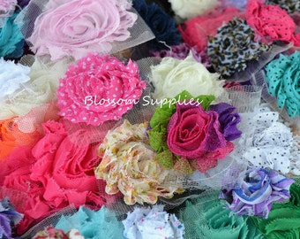 U Pick Colors - Sets of 5, 10, and 25 - Shabby Chiffon Flower Rosette and Bow Sample Pack - Shabby Rose Trim Frayed Flowers