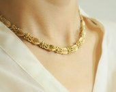 1950s Jewelry / Trifari gold leaves necklace // GOLDEN AUTUMN