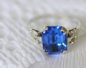 1930s vintage ring / sterling silver blue glass // ROCK CANDY
