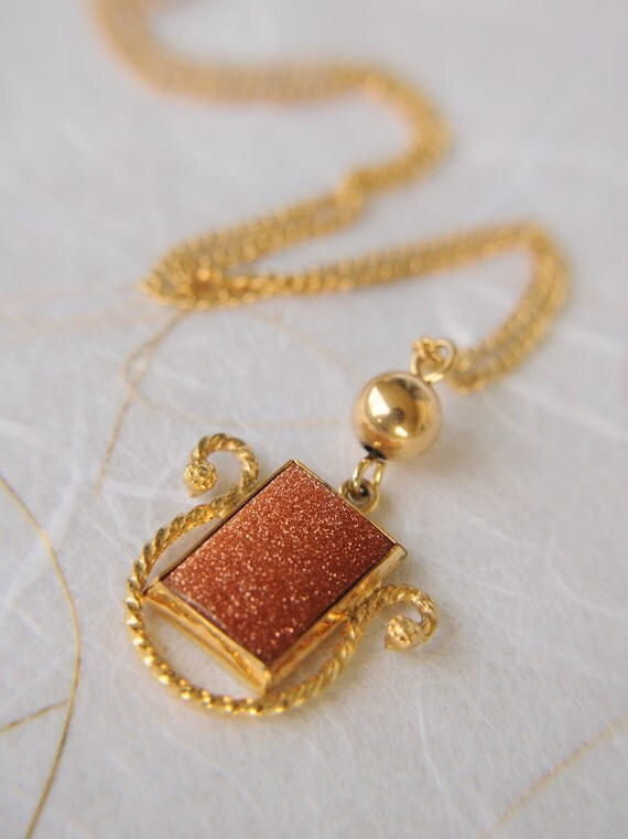 1930s Art Deco vintage / goldstone necklace and earrings set / LUCKY STONE