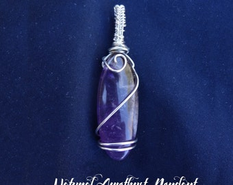 Natural Amethyst Wire Wrapped Pendant