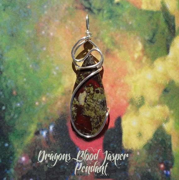 Dragons Bloodstone Wire Wrapped Pendant