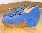 RESERVED FOR ABBY - Royal blue suede & wood lace up platforms