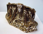 1950s Gold Mesh Evening Clutch / Change Purse with Rhinestone Clasp by Whiting & Davis