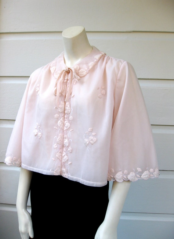 1960s Powder Pink Bed Jacket with Floral Detailing by I.Magnin & Co.