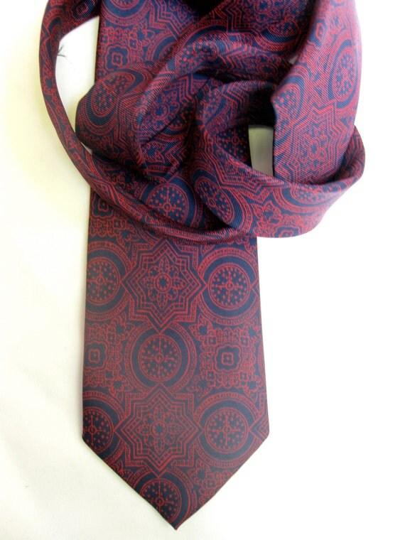 Vintage 1960s Men's Tie by Hastings - Red Pattern on Navy Blue Silk