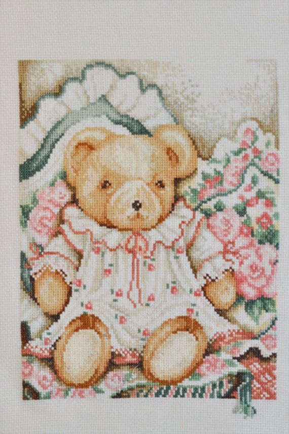 Finished / Completed Cross Stitch - Bears in a dress // Sale