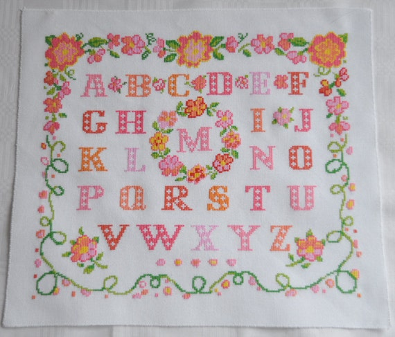 Finished / Completed Cross Stitch - ABC pink/peach Sampler // Sale
