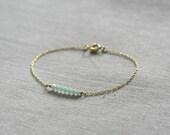 Simple Everyday swarovski crystal beaded bracelet - Fresh mint
