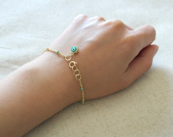 Evil eye gold bracelet in asorted colors