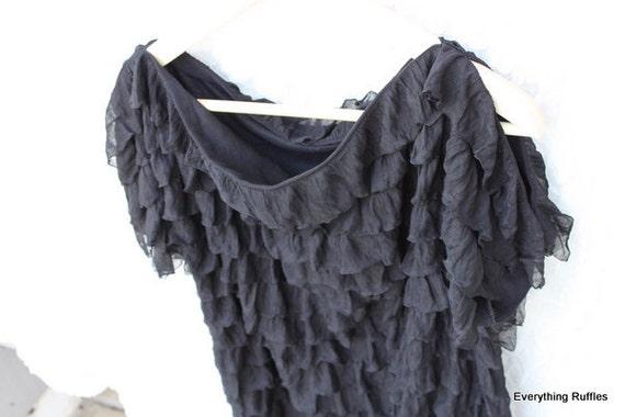 Black Ruffle Top, Open Shoulder Blouse, Boatneck Womens Blouse, Dressy Top