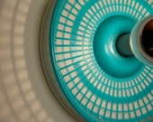 Wall Lamp, Funky Turquoise Repurposed Vintage Kitchen Items - Silver-Coated Bulb