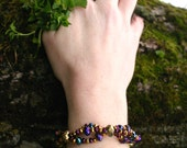 Purple, Gold and Sapphire faceted crystal bracelet