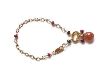Sunstone Bracelet Ruby 14K Gold Filled Chain Smoky Quartz July Birthstone Cancer Woman Best Friend Gift Healing Gemstone Jewelry