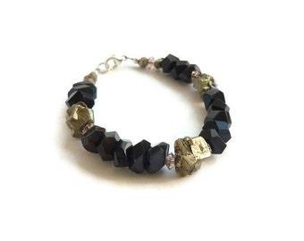 Hawk's Eye Bracelet Metallic Pyrite Pink Glass Beads Sterling Silver Blue Tiger Eye Women's Healing Stone Jewelry OOAK